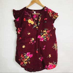 Old Navy burgundy floral cap sleeve blouse